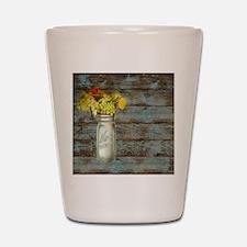 mason jar floral barn wood western coun Shot Glass