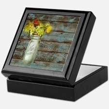mason jar floral barn wood western co Keepsake Box