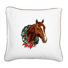 Christmas Holiday Horse Square Canvas Pillow