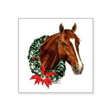 "Christmas Holiday Horse Square Sticker 3"" x 3"""