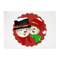 Snowmen Red 5'x7'Area Rug