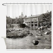 Cute Mountain river Shower Curtain