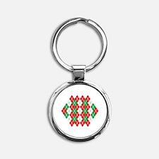Holiday Argyle Round Keychain