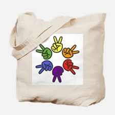 Peace Sign Fingers Tote Bag