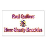 Quilters Gnarly Knuckles Rectangle Sticker