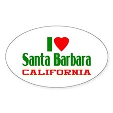 I Love Santa Barbara, California Oval Decal