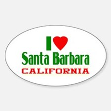 I Love Santa Barbara, California Oval Decal