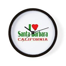 I Love Santa Barbara, California Wall Clock