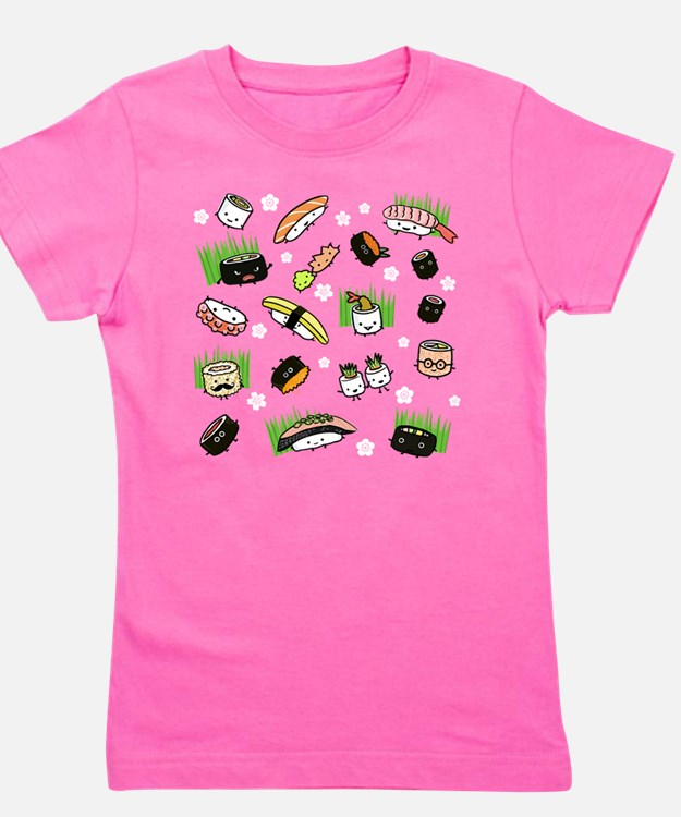 Sushi Characters Pattern Girl's Tee