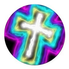 Electrifying Cross Round Car Magnet