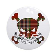 MacFarlane Tartan Skull Ornament (Round)