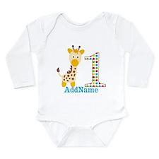 Giraffe First Birthday Long Sleeve Infant Bodysuit