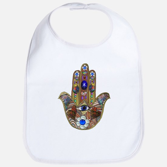 Hamsa Opal Design Bib