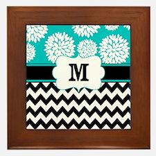 Teal Black Chevron Blooms Monogram Framed Tile