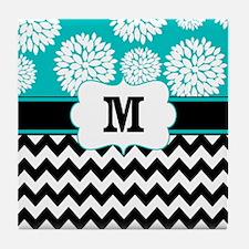 Teal Black Chevron Blooms Monogram Tile Coaster