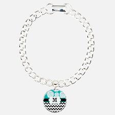 Teal Black Chevron Blooms Monogram Bracelet