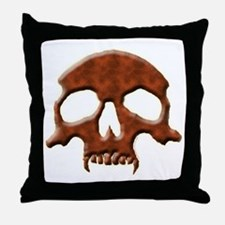 Skull - Vampire (Red Leather) Throw Pillow