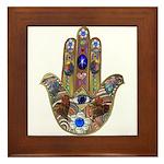 Hamsa Opal Design Framed Tile