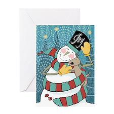 snowman joy puppy Greeting Card