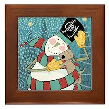 snowman joy puppy Framed Tile