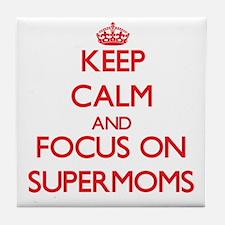 Funny Keep calm and blog on Tile Coaster