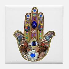 Hamsa Opal Design Tile Coaster