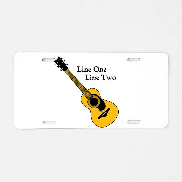 Custom Guitar Design Aluminum License Plate