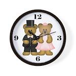 Bear Couple Wedding Clock