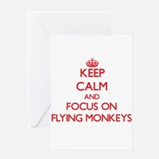 Keep Calm and focus on Flying Monkeys Greeting Car