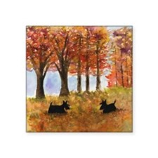 "Autumn Scottie Dogs Square Sticker 3"" x 3"""