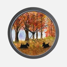 Autumn Scottie Dogs Wall Clock