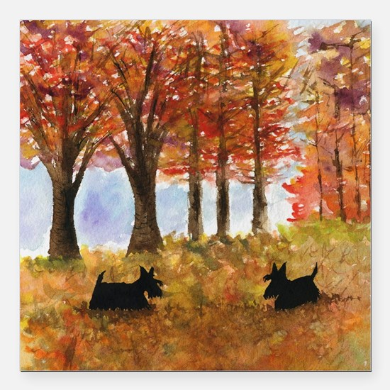 "Autumn Scottie Dogs Square Car Magnet 3"" x 3"""