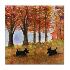 Autumn Scottie Dogs Tile Coaster