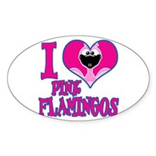 I Love (Heart) Pink Flamingos Oval Decal