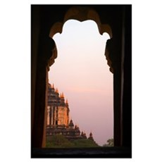 Temple At Sunset Seen From Temple Window In Myanma Poster