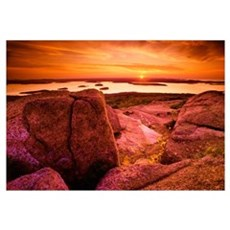 View From Cadillac Mountain At Sunrise, Acadia Nat Framed Print
