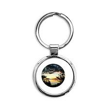 Alaskan Sunset Round Keychain
