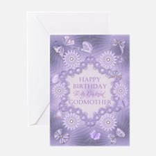 For godmother, lilac birthday card with flowers Gr