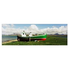 Boat Docked On Shore, County Donegal, Ireland Poster