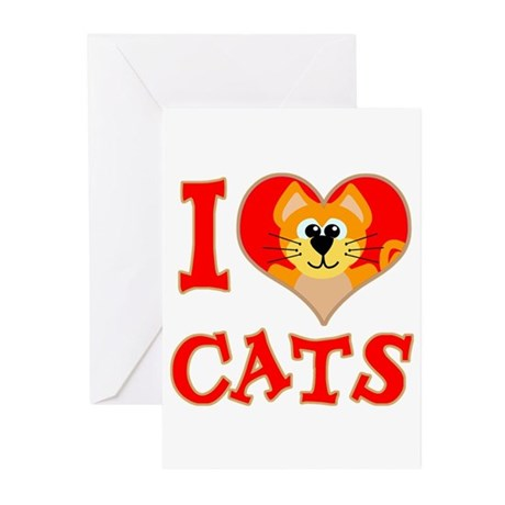 I Love (heart) Cats Greeting Cards (Pk of 10)