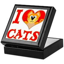 I Love (heart) Cats Keepsake Box