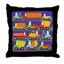 Trucks On The Highway Throw Pillow