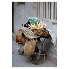 Bicycle Loaded With Food, Delhi, India Framed Print
