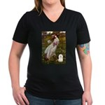 Windflowers & Bolognese Women's V-Neck Dark T-Shir