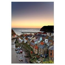 High Angle View Of Staithes Townscape, North Yorks Poster