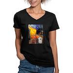Cafe & Bolognese Women's V-Neck Dark T-Shirt