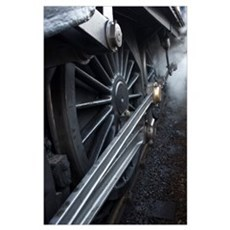 Close-Up Of Steam Engine Train Wheel Poster