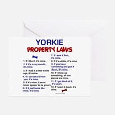Yorkie Property Laws Greeting Cards (Pk of 10)