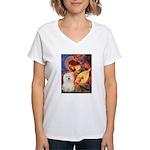 Mandolin Angel & Bolognese Women's V-Neck T-Shirt