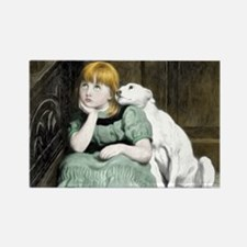 Dog Adoring Girl Victorian Painting Magnets